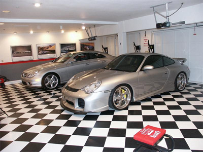 The Porsche and Merc Garage...