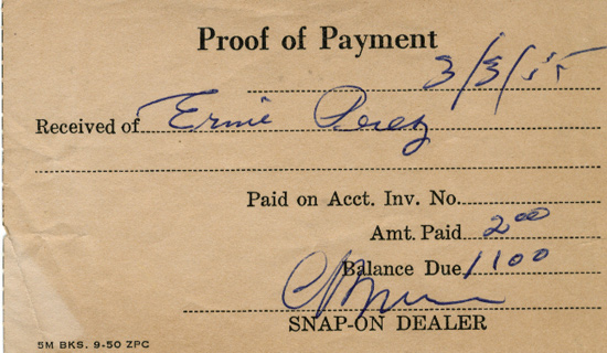 So I Was Flipping Through A 1955 Issue Of Car Craft Magazine And The Slip  Above Fell Out. Apparently, A Man Named Ernie Perez Had Charged Up A $1,100  Bill ...  Proof Of Payment Receipt